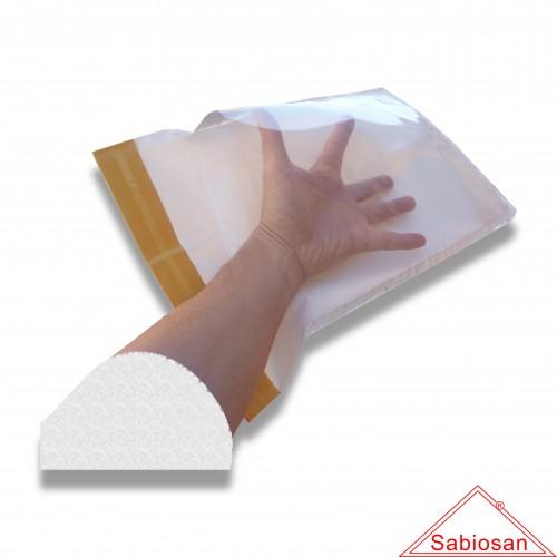 Sacco sabiosan pharma µm 100 pv2436 cm 24 x 36 biodegradabile mater-bi + pvc trasparente (C.D.  39232990)