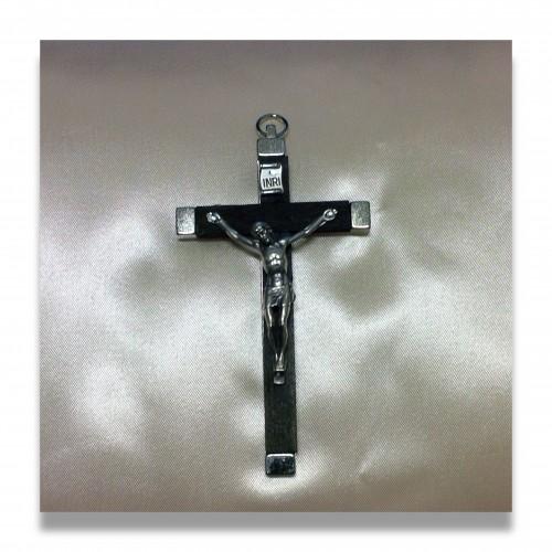 Rosario: crocemani legno con cristo metallo mm 110 x 65 con anello