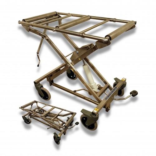 Carrello feretro inox con rulliera 4 ruote Ø mm 200 piroettanti