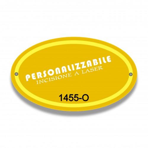 Targa 6 ovale oro satin bordo oro mm 85 x 145 piana alluminio