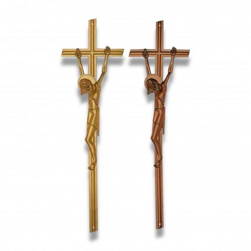 Croce cristo bio 3 mm 160 x 540 oro lucido biodegradabile mater-bi