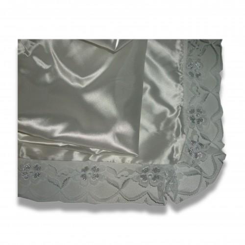 Ceneri: raso fazzoletto cm 60 x 80 bianco/champagne/grigio perla