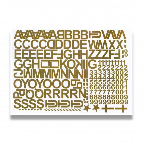 Provvisorio: set adesivo lettere/numeri oro/argento