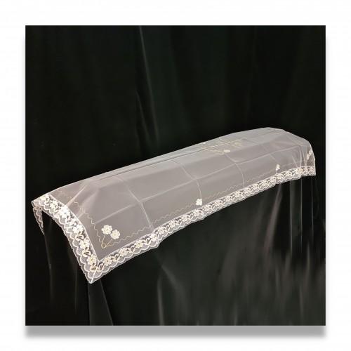 Velo bianco lusso std cm 100 x 250 con croce bordo pizzo