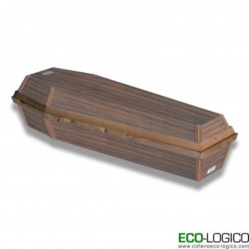 Cofano mortuario in cellulosa bordo legno monoblocco legno biodegradabile
