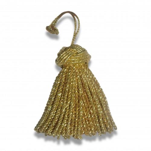 Passamaneria: fiocco nodo salomone cm 8 oro/argento