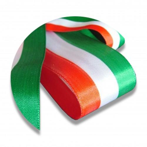 Nastro canetè regimental tricolore mm 70 60lino 40cotone biodegradabile