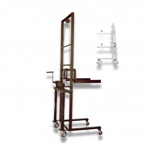 Elevatore manuale ferro CE elevazione max mt 2,05