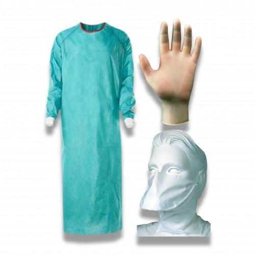 DPI kit vestizione: 2 camici /2 maschere ffp1/2 paia guanti codici 1957 + 1743 + 1750 (NON DISPONIBILE)
