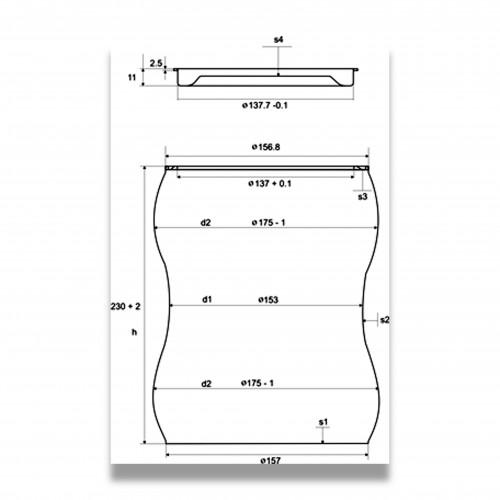 Ceneri urna acciaio s brunita Ø cm 17,5 x 23 h con custodia cellulosa