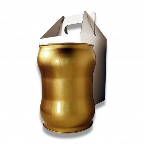 Ceneri urna acciaio s oro Ø cm 17,5 x 23 h con custodia cellulosa