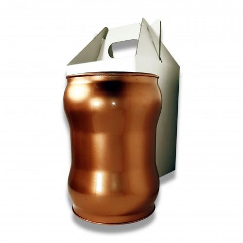 Ceneri urna acciaio s rame Ø cm 17,5 x 23 h con custodia cellulosa