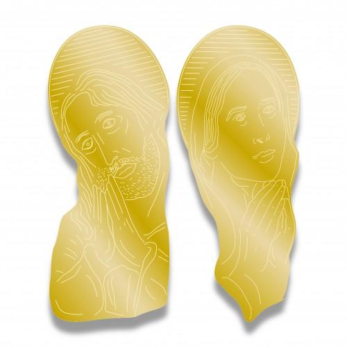 Applicazione cristo/madonna grande mm 130 x 320 oro lucido