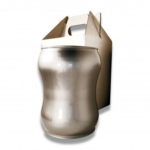 Ceneri urna acciaio s silver Ø cm 17,5 x 23 h con custodia cellulosa