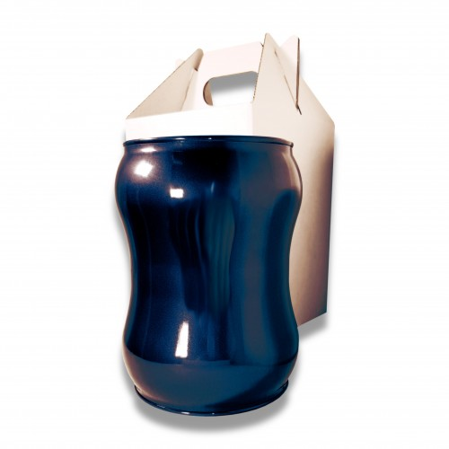 Ceneri urna acciaio s blu Ø cm 17,5 x 23 h con custodia cellulosa