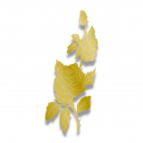 Applicazione rosa grande mm 130 x 320 oro lucido