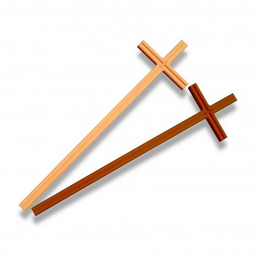 Croce legno faggio mm 155 x 565 miele/noce biodegradabile